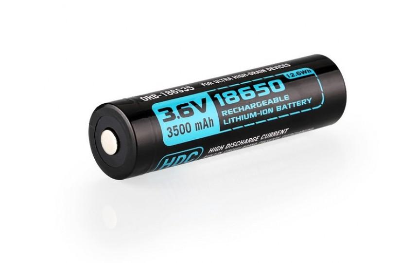 Высокотоковый защищенный литиевый аккумулятор Olight 18650 ORB-186S35 HDC 3500mAh