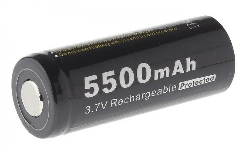 Аккумулятор литиевый 26650 Soshine 5500мАч с защитой
