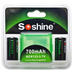 Аккумулятор литиевый Soshine RCR123/16340 700мАч 3.7V без защиты 2 штуки