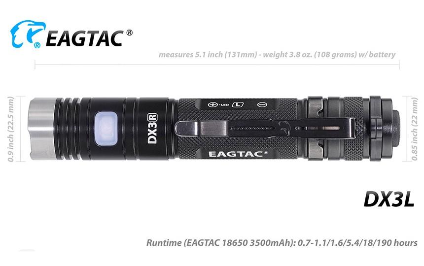 EagleTac DX3L (XHP50.2 K2, 1850 лм, 170 м, 18650) холодный белый