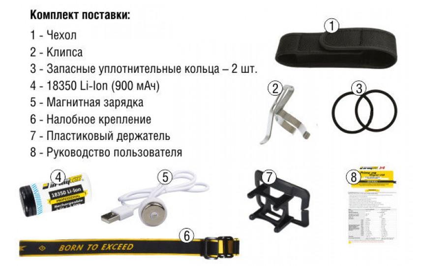Налобный фонарь Armytek Tiara C1 Magnet USB +18350 Li-Ion на белом диоде XP-L