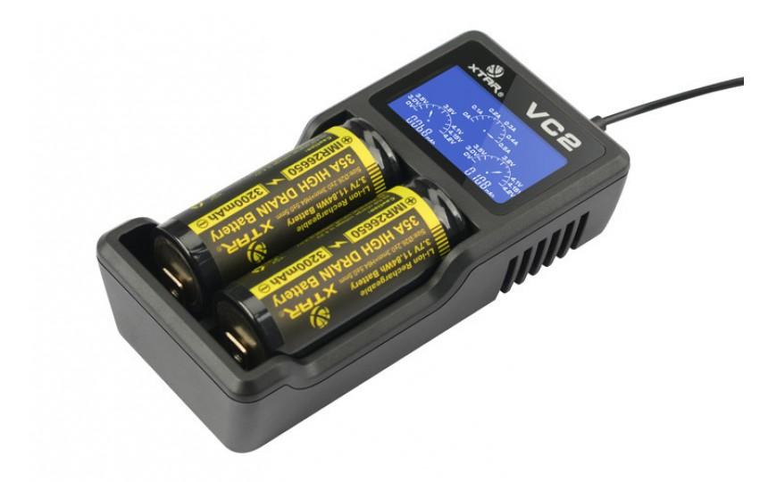 Зарядное устройство XTAR VC2 + адаптер 220В 1 Ампер